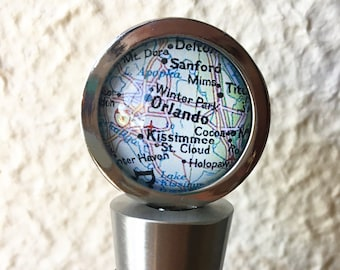 Orlando Map Wine Stopper Stainless Steel - You choose your favorite map out of 25 choices - Featuring Winter Park, St Cloud, and Kissimmee