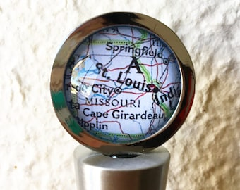 St Louis Map Wine Stopper Stainless Steel - Choose your favorite map - St. Louis Missouri Map Gift