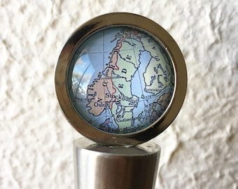 Sweden Norway and Finland Map Wine Stopper Stainless Steel - featuring Oslo, Stockholm, Helsinki, Bergen - Nordic Map Gift