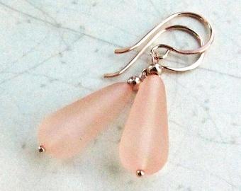 Rose Gold Filled Blush Drop Earrings, Long Frosted Glass Teardrops on 14k Filled Handmade Earwires - Feminine & Trendy
