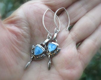 Blue Enamel Mixed Metal Earrings Hand Forged Sterling Silver Hammered Almond Earwires, Antique Silver/Gold & Petite Drops