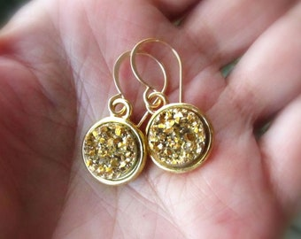 Gold Druzy Earrings on Handmade Classic Hooks or Hoops, Petite Round Gold Drusy Drops - Choose Earwire Style