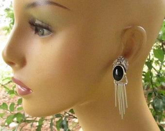 Black Onyx Sterling Silver Fringe Earrings, Vintage Southwest Navajo Floral Leaf Pierced Studs, Stamped & Hallmarked