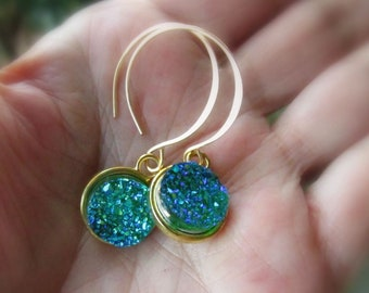 Emerald Green Druzy Earrings on Handmade Gold Hoop or Hook Earwires, Petite Drusy Drops - Choose Earwire Style