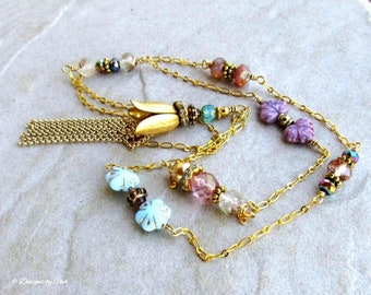 Long Gold Tassel Necklace, Multi Bead & Crystal Designer Chain Link, Brass Floral Tassel - Perfect for Layering