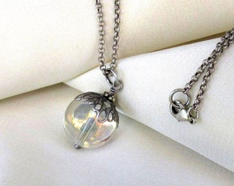 Antique Silver Crystal Ball Pendant, Long Rolo Necklace - Rainbow Glass Orb Mystical Pendant, Boho Necklace, Gypsy Spirit Jewelry