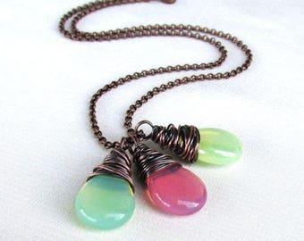 Pastel Opalite Necklace,  Antique Copper Rollo Wire Wrapped Pendant, Mint, Pink, Yellow Smooth Briolette - Choose Color