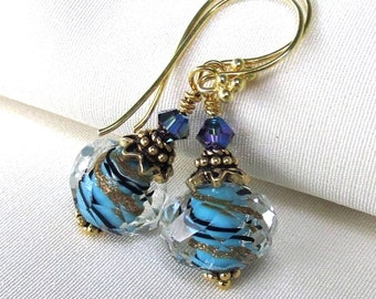 Blue and Gold Lampwork Earrings, Artisan Foiled Boro Glass, Bali Gold Vermeil, Swarovski Crystals - Gift for Her