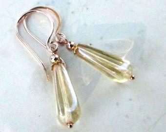 Rose Gold Filled Lemon Drop Earrings, Lemon Luster Glass Teardrops on Handmade 14kt Gold Filled Earwires - Delicate Drops