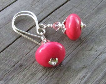 Salmon Pink Turquoise & Crystal Earrings, Swarovski Rose Champagne Crystals, Handmade Silver Classic Hook Earwires