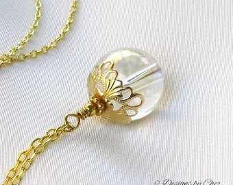 Gold Filigree Crystal Ball Pendant Long Gold Necklace, Rainbow Glass Gypsy Spirit Pendant, Fantasy Necklace, Handmade Boho Jewelry