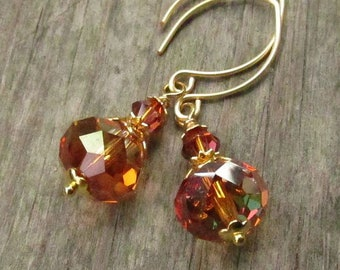 Copper Crystal Earrings on Handmade Almond Gold Earwires, Swarovski Faceted Rondelles ... Warm Autumn Crystal Drops