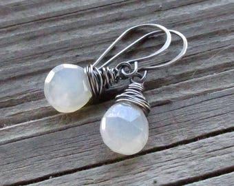 Pearl Chalcedony Earrings, Oxidized Sterling Silver Wire Wrap, Handmade Earwires - Mystic Pearl Heart Gemstone Briolettes