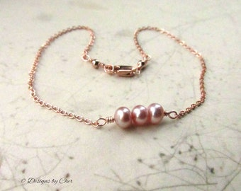 Rose Gold Blush Pearl Anklet, Delicate Chain with Wire Wrapped Freshwater Pearls and Clasp - Choose Your Size for Custom Fit