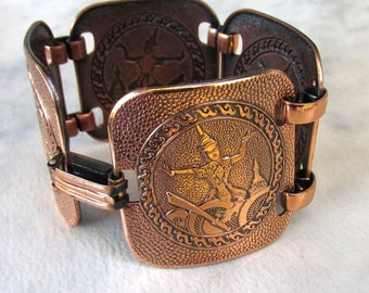 Wide Vintage Copper Bracelet, Linked Raised Image Medallions, Fold Over Clasp, 1970's Excellent Condition