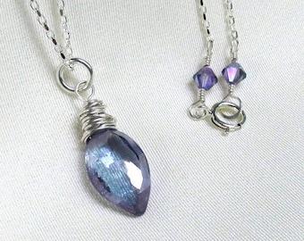 Violet Blue Mystic Quartz Necklace, Sterling Silver Wrapped Marquis Pendant, Swarovski Tanzanite Crystals, Delicate Gemstone Jewelry