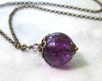 Purple Grape Glitter Pendant, Antique Brass Rolo, Floral Filigree & Swarovski Crystal, Long Boho Necklace - Custom Length