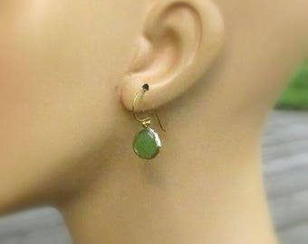 Peridot Vermeil Drop Earrings, Faceted Glass Teardrop on 22kt Gold/SS Earwires - August Wedding, Birthday Gift for Her