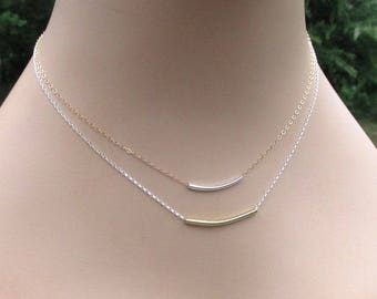 14kt Gold Filled Sterling Silver Curved Bar Layering Necklaces, Delicate Mixed Metal Minimalist Jewelry Gift for Her
