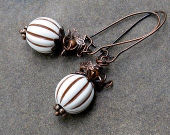 Ivory and Brown Lucite Pumpkin Earrings, Antique Copper Tiny Leaves & Curling Vines - Woodland Earrings, Autumn Jewelry