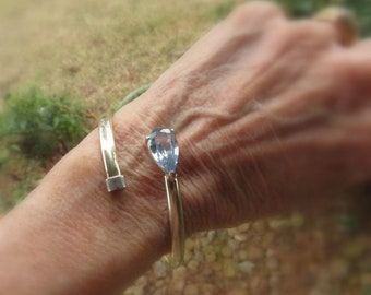 Sterling Silver Wrap Bangle w/Sky Blue Teardrop Faceted Topaz CZ - Vintage Stamped 925 - Easy On/Off Flex Crossover Bracelet