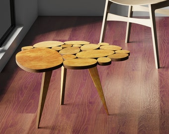 Coffee Table -- Contemporary Design, Made from Wood Circles