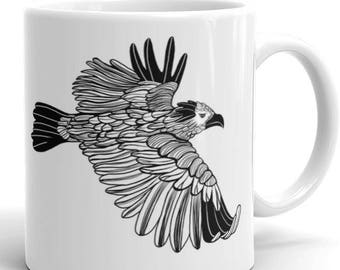 Bird Mug, eagle, coffee art, bird art, unique coffee mug, black and white mug