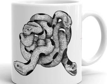 Snake Mug, Illustrated Coffee Cup, Animal Art