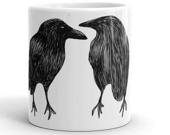 Crow Mug Illustrated Bird Art Coffee Cup