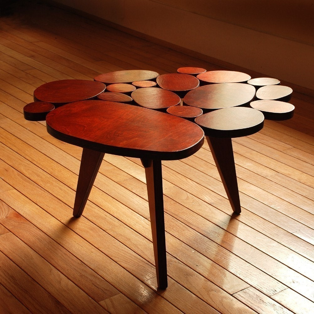 Modern Coffee Table Circles Table Retro Midcentury Table