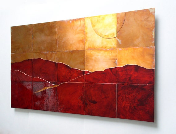 Split Sun LARGE Copper Landscape Artwork Copper and red | Etsy