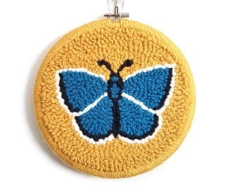 Blue butterfly // punch needle wall hanging