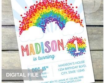 "Rainbow Birthday Invitation - ANY Age - Rainbow Confetti 1st Birthday Party- Boy or Girl - DIGITAL Printable Invite - 5"" x 7"""