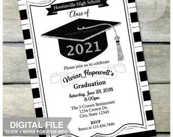 """Graduation Invitation - SILVER - Glitter Grad Invite - High School - College - Graduate - Digital Invite - 5"""" x 7"""" Printable"""