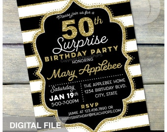 50th Birthday Invitation Surprise