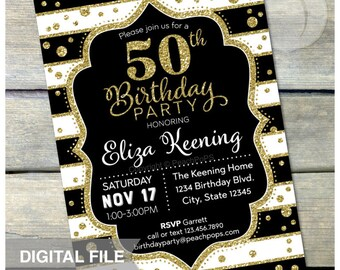 30th Surprise Birthday Invitation ANY Age Black Gold
