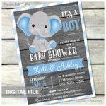 "Boy Elephant Baby Shower Invitation, BLUE, Stripes Safari Couples Baby Shower, Rustic Wood Style, DIGITAL Printable Invite - 5"" x 7"""