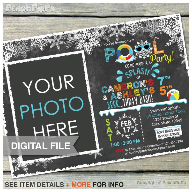 Joint Blue Winter Pool Birthday Party Chalkboard Invitation image 0