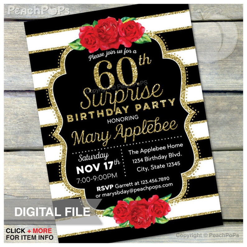 60th Birthday Invitation Surprise Red Roses Black And