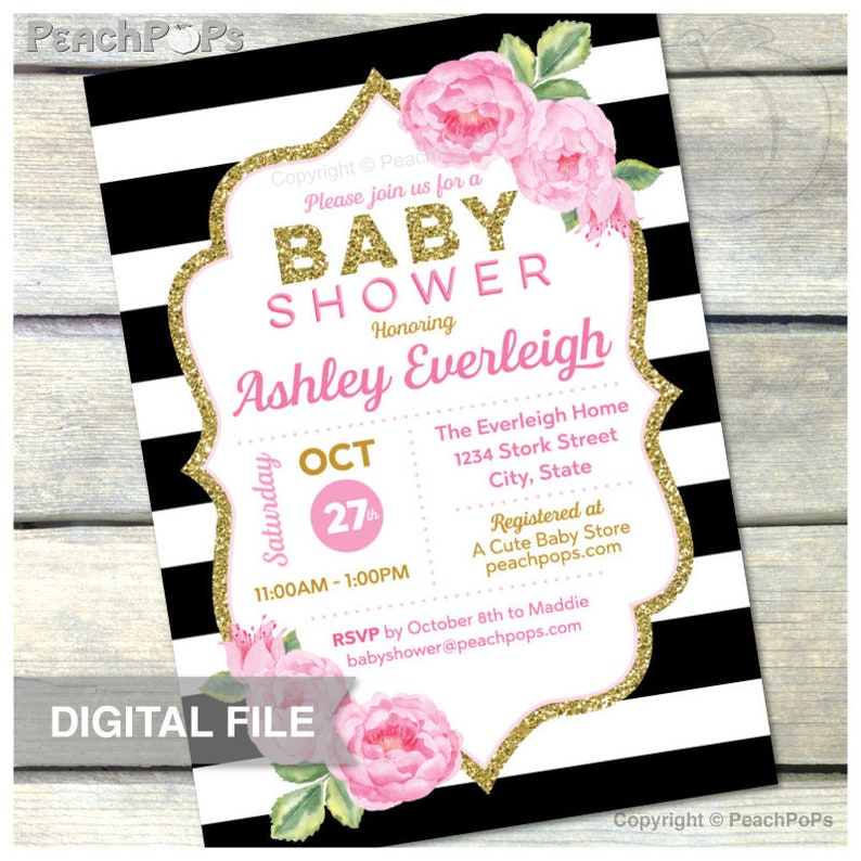 Pink and Gold Baby Shower  Black Stripes  Girl  DIGITAL image 0
