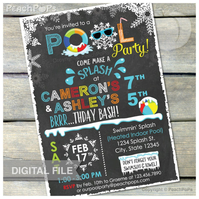 Joint Winter Pool Birthday Party Chalkboard Invitation Snow image 0