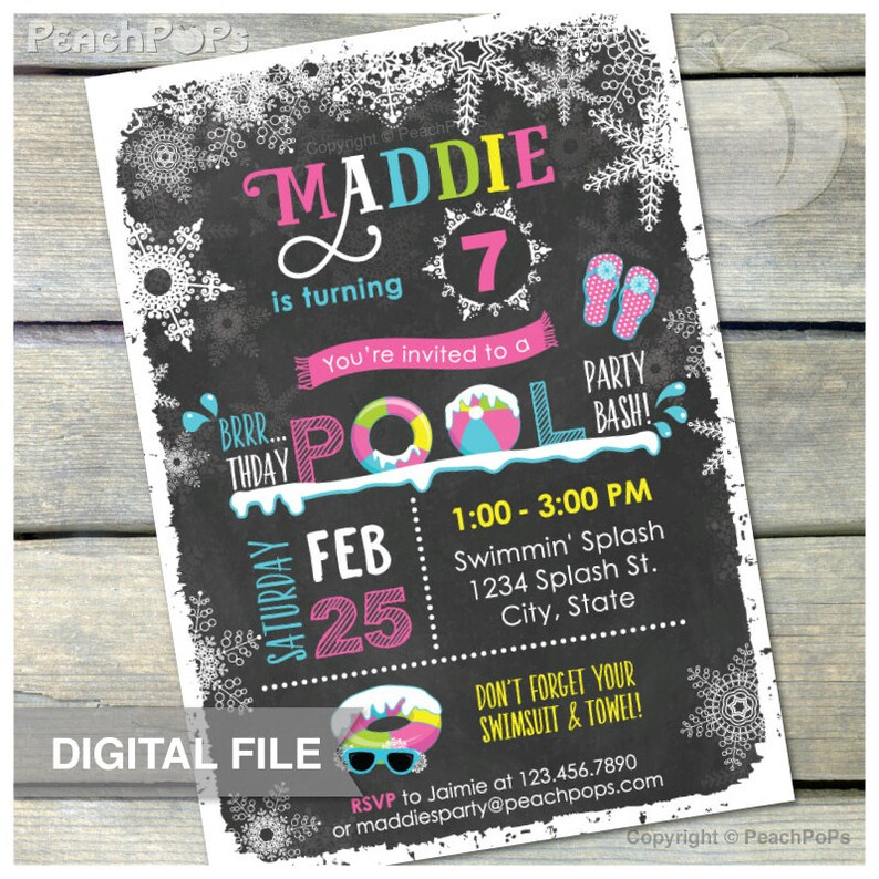 Pool Party Chalkboard Birthday Invitation PINK Winter Snow image 0