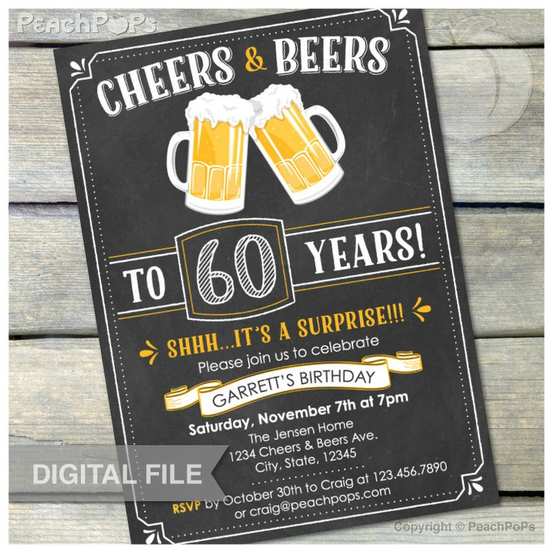 60th Surprise Birthday Chalkboard Invitation Cheers & Beers image 0