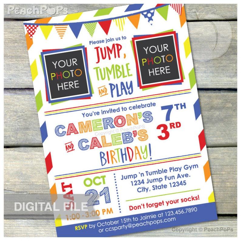 Joint Gymnastics Birthday Invitation Jump Tumble Play Joint image 0