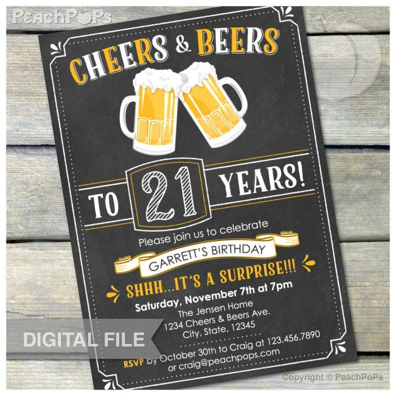 Surprise 21st Birthday Invitation Cheers & Beers Invite image 0