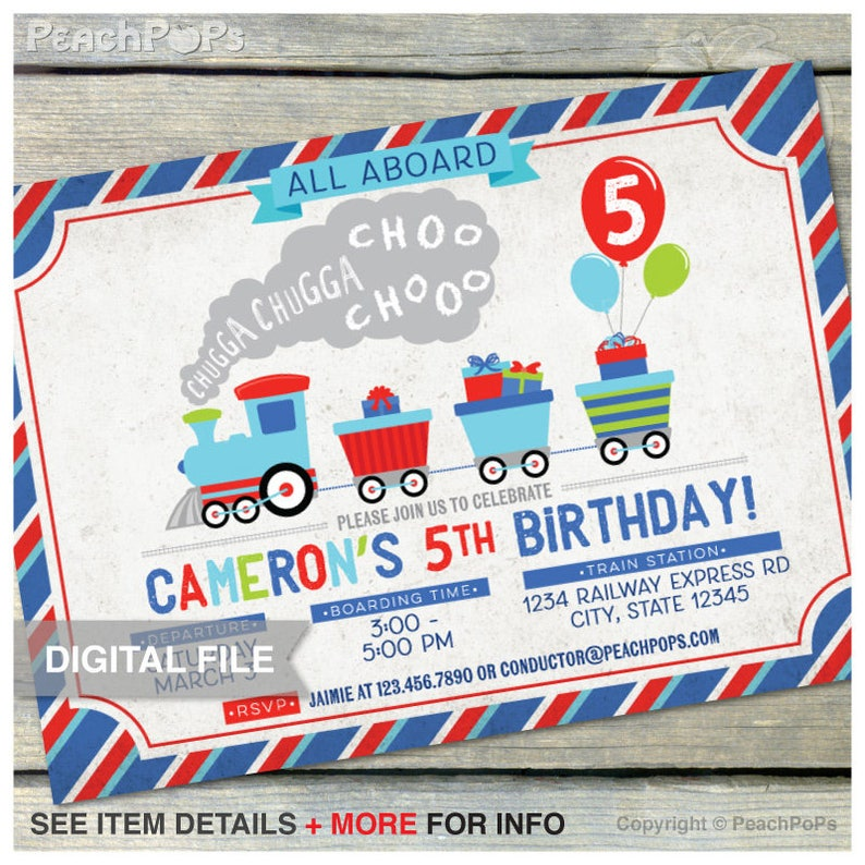 Train Birthday Invitation  Retro Style  Chugga Chugga  Boy image 0