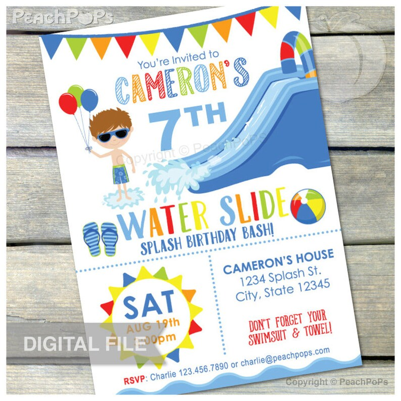 Splash Waterslide Birthday Invitation Party Water Slide Bash