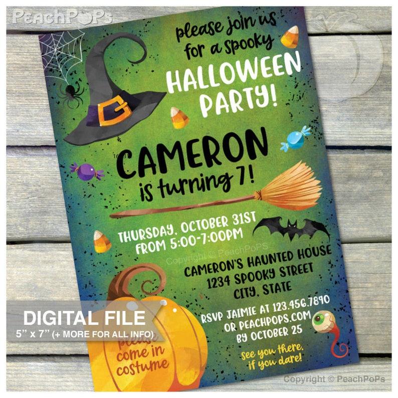 Halloween Party Invitation  Spooky Birthday Invite  image 0