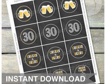 Cheers & Beers Cupcake Toppers - 30 Years - Chalkboard Style - Favor Tags - DIGITAL Printable - INSTANT DOWNLOAD