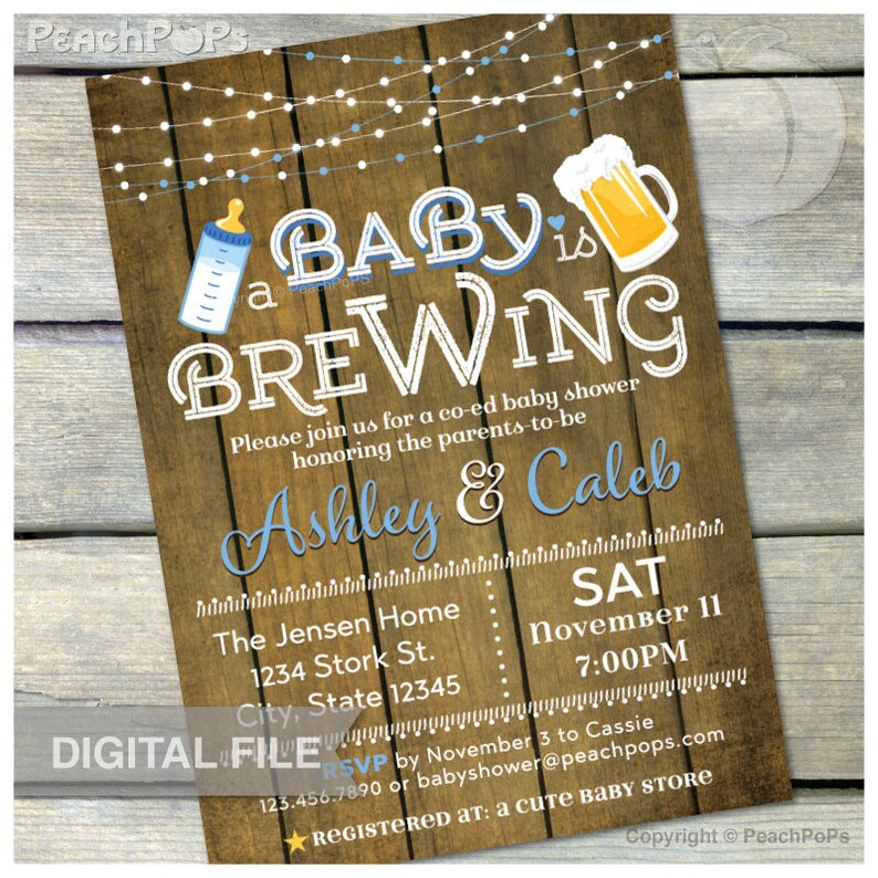 A Baby is Brewing Invitation Beer Baby Shower Blue Co-ed image 0